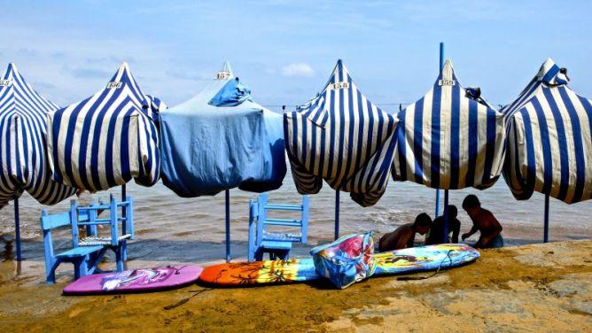 Playa de Zarautz con marea alta